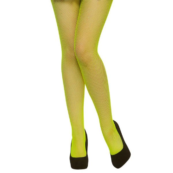 Ladies Tights - Fishnet / Neon Green for Sexy Adult Role Play Fancy Dress